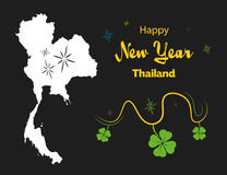 Happy New Year theme with map of Thailand. Happy New Year illustration theme with map of Thailand Royalty Free Stock Image