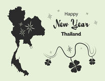 Happy New Year theme with map of Thailand. Happy New Year illustration theme with map of Thailand Royalty Free Stock Images