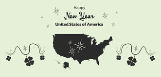 Happy New Year theme with map of the USA Stock Image