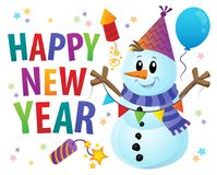 Happy New Year theme with snowman 1 Stock Photography