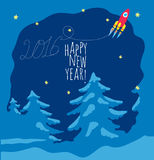 Happy New Year theme 1 - vector illustration. Happy New Year theme  - cheerful red rocket flying over trees, the trace of this inscription form 2016. image Royalty Free Stock Images