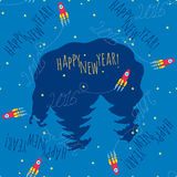 Happy New Year theme 1 - vector illustration. Happy New Year seamless pattern  - cheerful red rocket flying over trees, the trace of this inscription form 2016 Stock Image