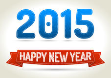 Happy new year. 2015 on three different color ribbon with shadow on light background Stock Image