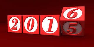 Happy new year 2016. Three dimensional render of 2016 text in blocks Royalty Free Stock Photo