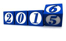 Happy new year 2016. Three dimensional render of 2016 text in blocks Stock Images