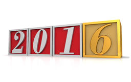 Happy new year 2016. Three dimensional render of 2016 text in blocks Stock Photography