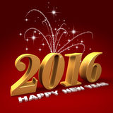 Happy new year 2016. Three dimensional render of 2016 text with fireworks Royalty Free Stock Photo