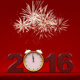Happy new year 2016. Three dimensional render of 2016 text with fireworks vector illustration