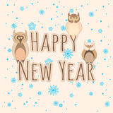 Happy New Year. Three owls. Stock Images