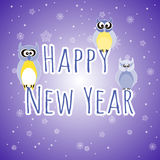Happy New Year. Three owls. Royalty Free Stock Photography
