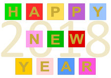 Happy New Year 2018 on tiles. Colorful lettering `Happy New Year` build with colorful buttons and the date 2018 in large numbers in the background. Vector in a vector illustration
