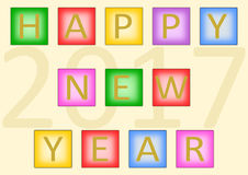 Happy New Year 2017 on tiles. Colorful lettering Happy New Year build with colorful buttons and the large date 2017 in the background in a landscape format Stock Image