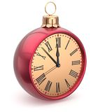 Happy New Year time Christmas ball midnight clock decoration Stock Photo