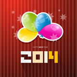 Happy New Year 2014 Title. With Colorful Balloons on Red Background Royalty Free Stock Images