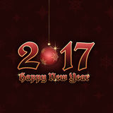 Happy New Year 2017 title with hanging bauble. Happy New Year 2017. Vector illustration with hanging bauble and snowflake pattern Royalty Free Stock Photography