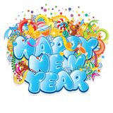 Happy New Year Title. Vector Design. Isolated on White royalty free illustration