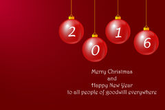 Happy New Year to all people of goodwill everywhere. Christmas baubles with number 2016 on the red gradient background. Inscription Happy New Year to all people Royalty Free Stock Images