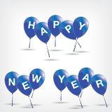 Happy New Year to Blue Balloons on Grey background. Blue Balloons Stock Images