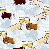 Happy new year toast on blue seamless pattern. Many different human hands with glasses of champagne making toast colorful happy new year party holiday seamless royalty free illustration