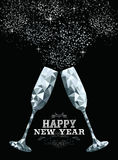 Happy new year toast glass low polygon silver Stock Photography