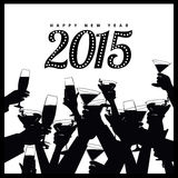 Happy New Year 2015 toasting hands silhouette. 