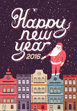 Happy New Year in a town illustration. Vector. 2016 Happy New Year in a town, hand lettering - handmade calligraphy, vector illustration Royalty Free Illustration