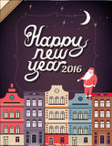 Happy New Year in a town illustration. Vector. 2016 Happy New Year in a town, hand lettering - handmade calligraphy, vector illustration Vector Illustration