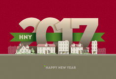 2017 Happy New Year in town. Vector greeting card design element royalty free illustration