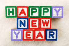 Happy new year toy block Stock Images