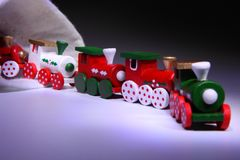 Happy New Year 2018 toy train Christmas snow gift. Happy New Year 2018 toy train Christmas toy snow funny holidays Royalty Free Stock Photo