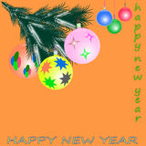 Happy new year with toys. Happy new year with  toys greeting card Royalty Free Stock Photos