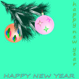 Happy new year. With  toys greeting card Royalty Free Stock Photo