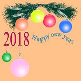 Happy new year 2018. Happy new year with toys greeting card 2018 Royalty Free Stock Photo