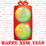 Happy New Year 31, traffic light gift box, tree. Vector. Happy New Year, traffic light like gift box, with Christmas tree and 31 on balls - lenses. Christmas Royalty Free Stock Photography