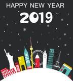 Happy New Year 2019 Travel Background stock illustration