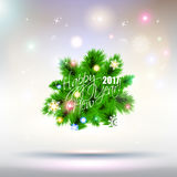 2017 Happy New Year Tree greeting card. Stock Photography