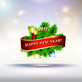 2017 Happy New Year Tree greeting card. Stock Image