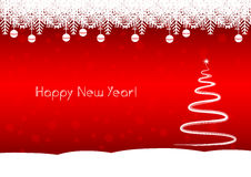 Happy New Year tree! Red background Stock Photos