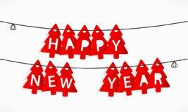 Happy new year. Tree shaped tags Happy New Year Stock Photo