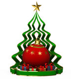 Happy new year tree with star. 3d Illustrations Happy new year tree with star Royalty Free Stock Photos