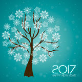 2017. Happy New Year. Trees with snowflakes. Snowflakes greeting card. Background for winter and christmas theme. Vector illustration. Snowing background stock illustration
