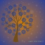Happy New Year. Trees with snowflakes. Royalty Free Stock Photography
