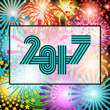 2017 Happy New Year trendy and minimalistic card or background. Stock Image