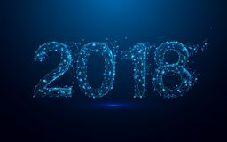 Happy new year 2018 and triangles, point connecting network on blue background Stock Photos