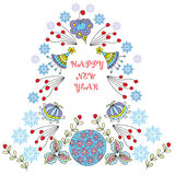 Happy New Year . Triangular frame made of flowers and snowflakes. Decorative festive element to the hand-drawn doodle style Royalty Free Stock Photos
