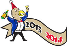 Happy New Year 2014 Turkey Toasting Wine Cartoon. Illustration of a turkey in tuxedo suit wearing party hat holding wine bottle in one hand and glass on the Stock Photos