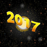 Happy New Year Twenty Seventeen background. New Year 2017 Over a Golden Circle and Text on Space Background Vector Illustration