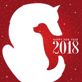 Happy New Year. Two dogs. Red background. Negative space design. Happy 2018 new year. Holidays greeting card Royalty Free Stock Photo