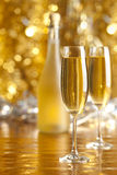 Happy new year - two glasses and bottle of champagne Royalty Free Stock Photography