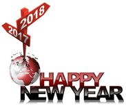 Happy New Year 2017 2018 - Two Road Signs. Happy New Year 2017 2018 - 3D illustration of a crossing sign with two arrows, clock and earth globe. Isolated on Stock Photo